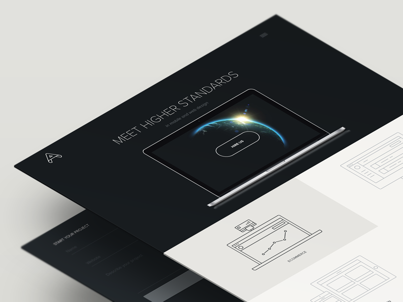 We Are Amber Creative agency icon menu responsive homepage portfolio flat minimal
