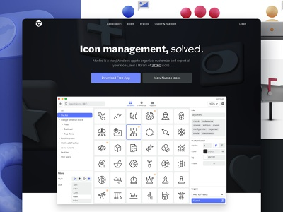 Nucleo 3 Homepage icons blender illustrations 3d hero header typography app homepage landing