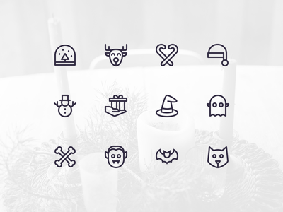 Nucleo - Holidays ghost vampire set icons santa holidays christmas halloween