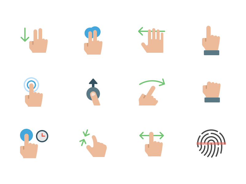 Touch Gestures drag pinch fingerprint flick swipe tap touch hand gestures