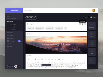 Graviton - Create New Page dashboard navigation menu drag create page cms graviton