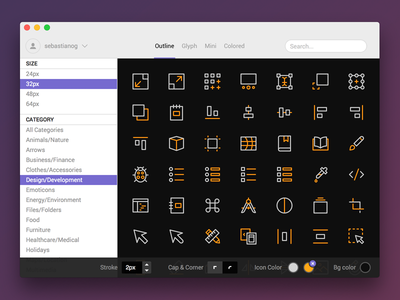 Nucleo for Mac export customize stroke svg gallery icon mac app icons nucleo