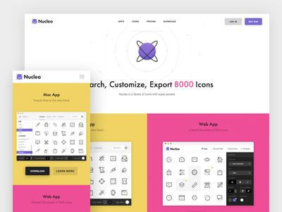 Nucleo Homepage header icon responsive hero minimal icons nucleo