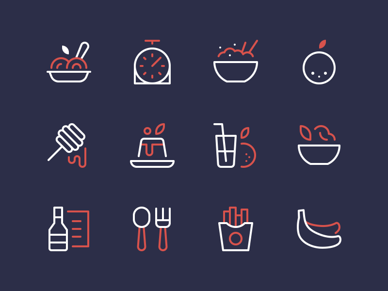 Food Icons salad chips fruit honey dessert pasta nucleo icons food