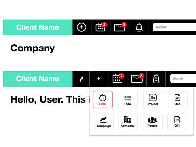 Nav / Toolbar Research dashboard navigation shortcuts