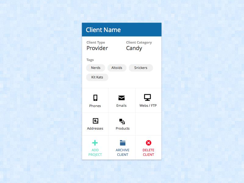 Dashboard - Client Card dashboard