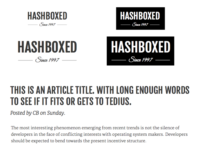 Type Test hashboxed type logo