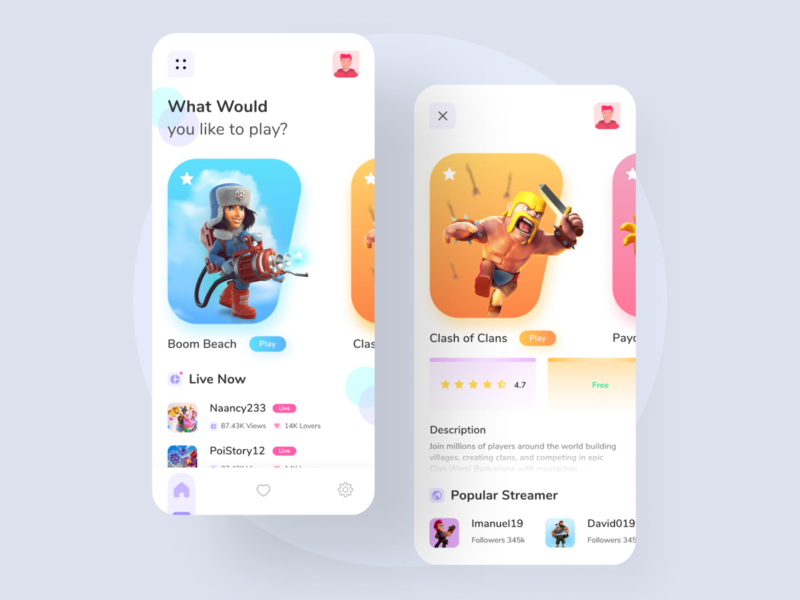 Streaming Game App - UI white fresh colors fresh design stream 3d game mobile daily mobile app design app uiux ux ui design ui design