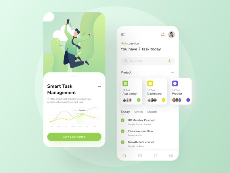 Task Management App - UI green flat illustrator task management app managment task illustration mobile app design mobile app daily ux uiux ui design ui design