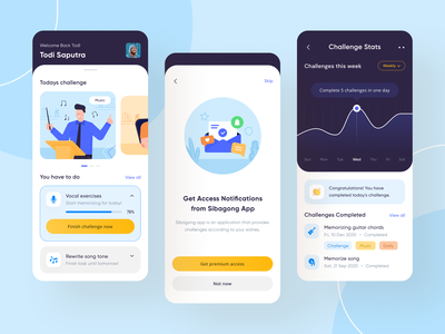 Challenge App - Sibagong UI Design blue yellow figma clean ui challenges challange flat illustration white illustration mobile app design mobile app daily ux uiux ui design ui design