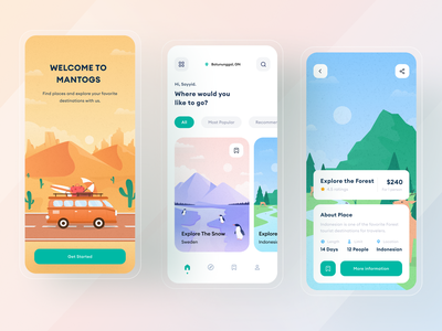 Travel app - UI Design forest illustration desert illustration travel app clean clean ui flat illustration mobile app design mobile illustration app daily ux uiux ui design ui design