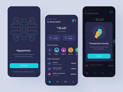 Financial App - Ngepethela. money app finance dark ui flat illustration mobile app design mobile app illustration daily ux uiux ui design ui design