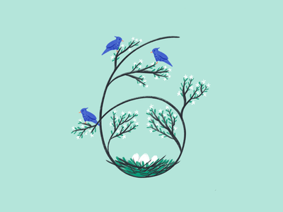 36 Days of Type, day 33: 6 green six number 6 6 spring birds drawing procreate 36daysoftype07 36daysoftype