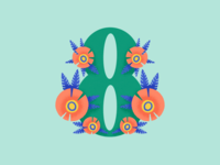36 Days of Type, day 35: 8 procreate folk flowers green eight number 8 8 36daysoftype 36daysoftype07