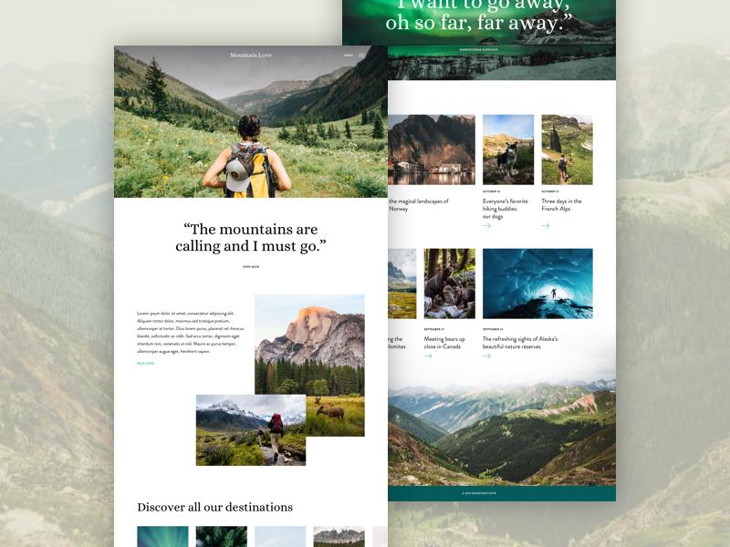 Just for fun: Travel blog landingspage ⛰️