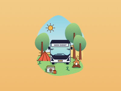 """Happy Summer!"" illustration for busdrivers, 2020 edition sun holiday busdrivers busdriver arriva camping vacation summer bus greeting card design illustration clean illustrator vector"