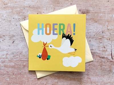 'New Baby' greeting card hoera yellow busdriver bus arriva stork cute baby new baby procreate illustration graphic design greeting card