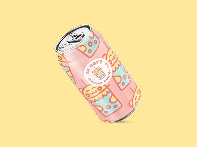 Shenzen Bubble Tea brand designer logo designer logo food branding soda can soda pink kawaii cute shenzen bubble tea bubble tea shenzen thirtydaylogochallenge 30daylogochallenge 30daychallenge
