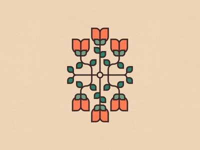 Spring Flowers 2/3 minimal graphic design orange tulips clean adobe illustrator vector spring flowers symmetrical symmetry illustration