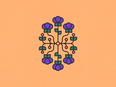 Spring Flowers 3/3 minimal graphic design clean vector orange adobe illustrator spring flowers symmetrical purple symmetry illustration