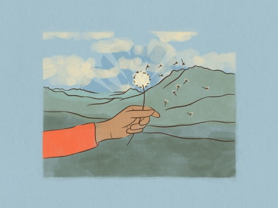 Illustration for 'Power up!' by PODER Colorado ✦ 1 of 5 procreate dandelion mountains poder colorado nature colorado illustration illustrator