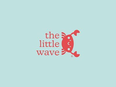 The Little Wave: Alternate logo lock-up swimwear logo brand identity branding creative glow challenge cute crab the little wave