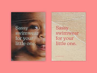 The Little Wave: Poster visual identity summer logo design logo baby beach swimwear kids branding cute creative glow challenge the little wave