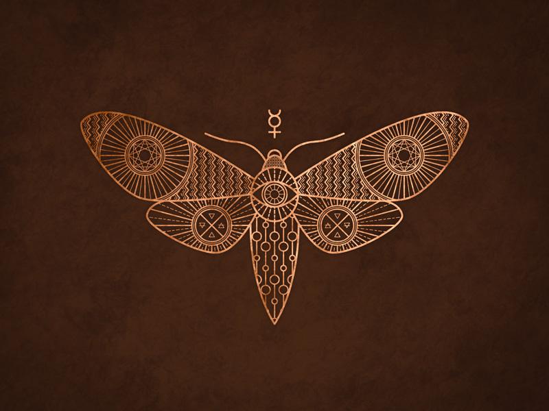 Moth moth geometry alchemy lines dark copper symbolism eye wings