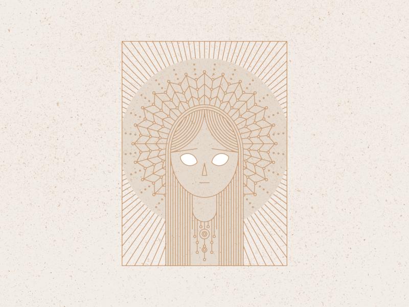 Menrva saint spiderweb portrait sacred geometry mandala vector illustration