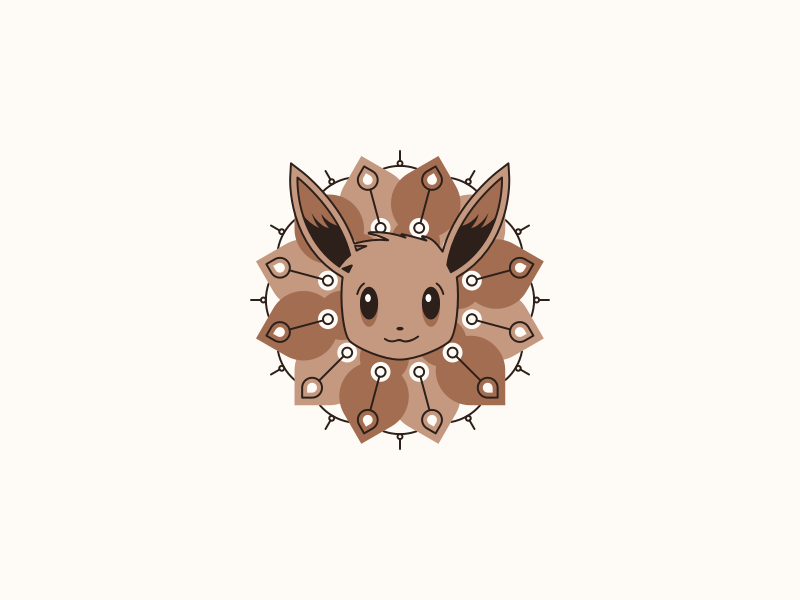Let's go Eeevee! clean minimalistic geometry pokemon eevee cute design symmetry illustration mandala illustrator vector