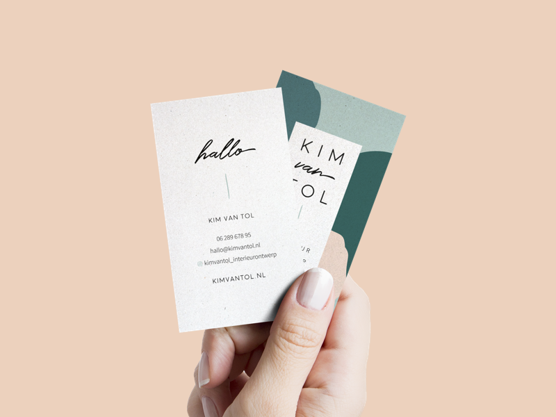 Kim van Tol Interior Design: Business Card logodesign clean design clean minimal green interior designer interior design kim van tol kim visual identity branding business card logo