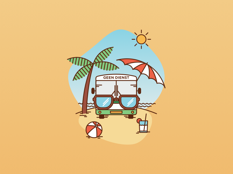 """""""Happy Summer!"""" illustration for busdrivers busdrivers busdriver arriva sunglasses illustration sun palmtree palm beach warm yellow relax holiday summer vacation summer bus"""