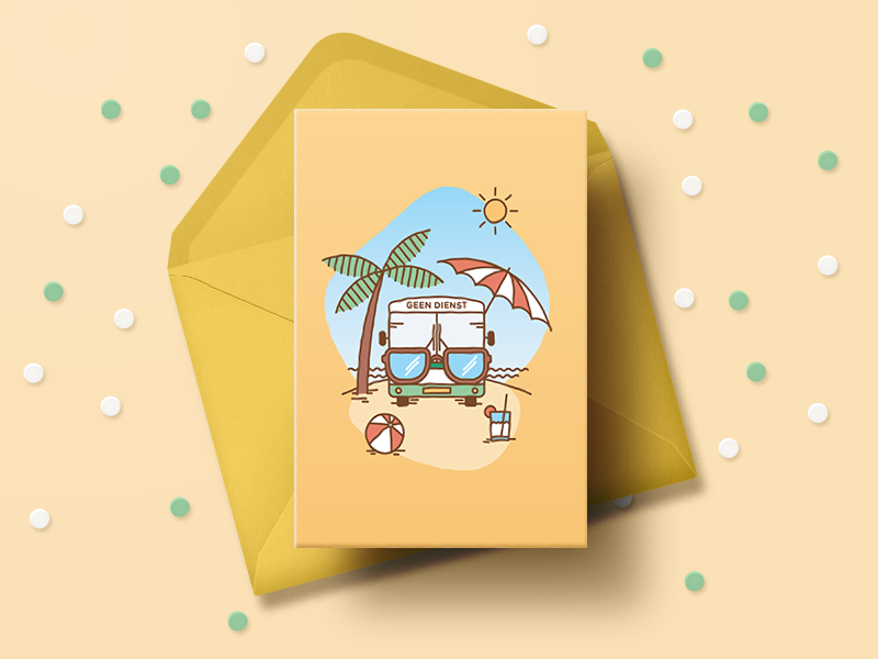 """""""Happy Summer!"""" card for busdrivers card holiday card greeting card summer vacation summer holiday relax warm beach palmtrees palmtree stationery sun yellow illustration sunglasses arriva bus busdriver busdrivers"""