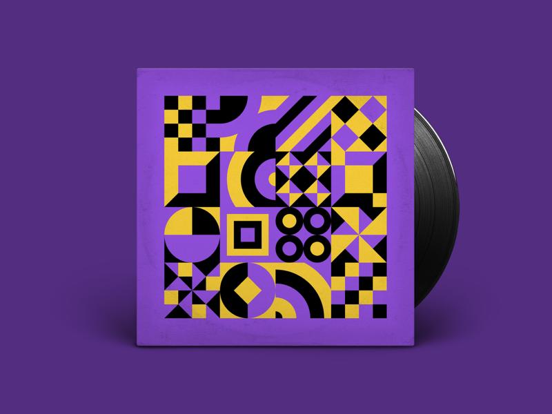 Bold, geometric album cover 💜 💛 🖤
