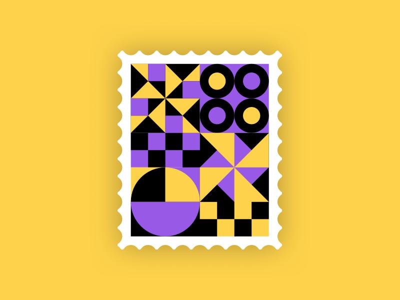 Bold stamp 💜 💛 🖤