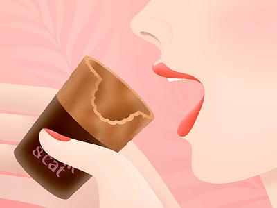 edible coffee cups food coffee texture grain vector illustration