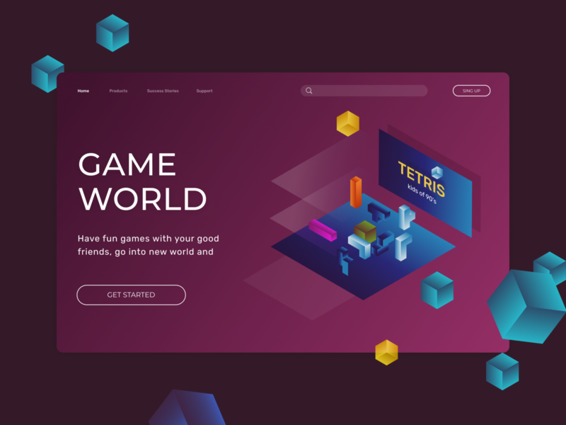 Game world concept web app web design game concept illustrator uiux ui figma illustraion web game game art gaming games tetris ui design website design website isometric illustration isometric concept