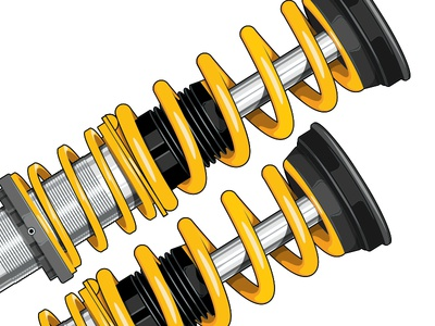 Coilovers auto automotive performance suspension coilovers cars aftermarket illustration