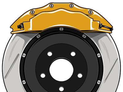 Brakes auto automotive performance brakes rotor caliper cars aftermarket illustration