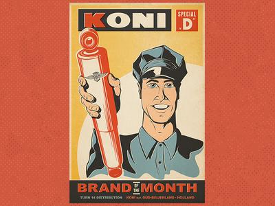 Vintage Koni Poster auto automotive performance koni shocks vintage illustration texture retro
