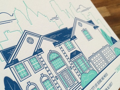 Printed Moving Announcement letterpress illustration skyline philly philadelphia minty house city moving