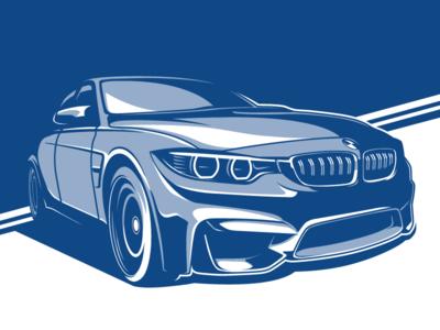 BMW M3 blue bimmer illustration stylized f80 m3 bmw car
