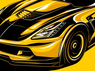 Corvette Z06 stylized illustration vector black  yellow sports car car corvette
