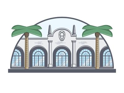 Casa Marina  stylized clean minimalist florida illustration palm tree building line drawing