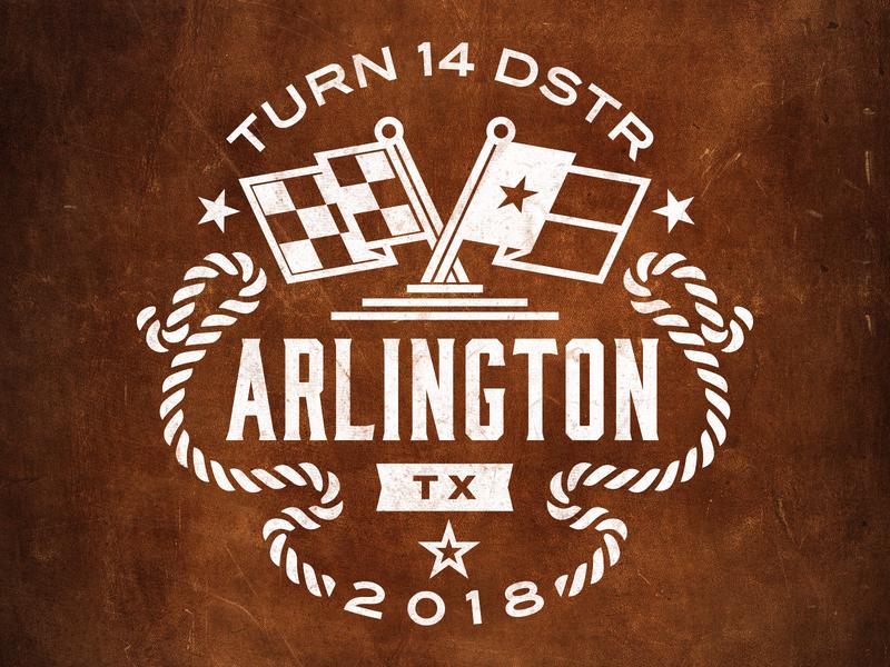 Arlington Coaster checkered flag vintage distressed t14 badge leather rope automotive flag texas