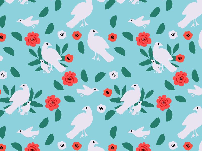 Birds pattern white pigeon bird flower floral surface design texture seamless pattern