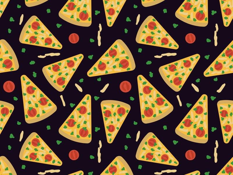 Pizza pattern cuisine italian meal illustration design cartoon flat simple food pizza decorative surface design texture seamless pattern