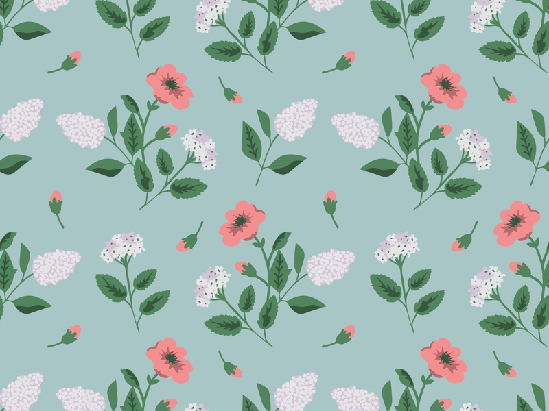Spring flowers pink blue white lilac rose spring flower seamless pattern floral texture seamless pattern