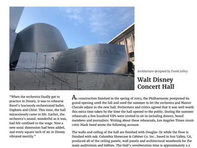 Walt Disney Concert Hall 100 layouts project css grid