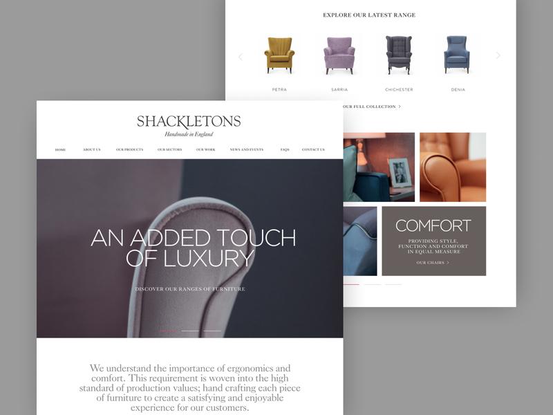 Shackletons chairs products web design clean responsive homepage desktop website ux ui
